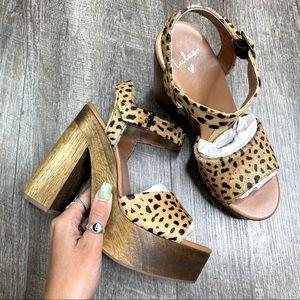 Lulus Cheetah Calf Hair Wooden Platform Heels 7